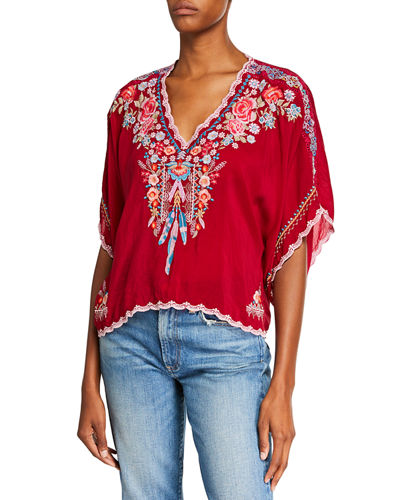 Klarah V-Neck Embroidered Georgette Top w/ Lace Trim