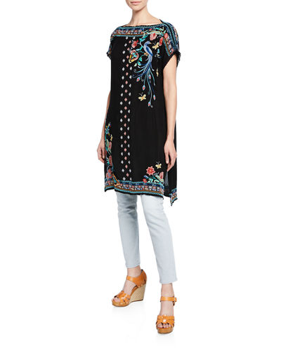 Dahlia Embroidered Short-Sleeve Long Tunic