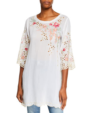a07b2c636c259 Johnny Was Plus Size Belina Floral-Embroidered Georgette Tunic w  Eyelet  Detail