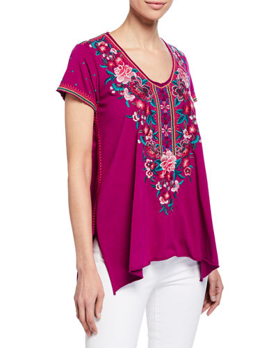 Johnny Was Analiesse Drape V-Neck Short-Sleeve Top w/ Side Stitch Detail