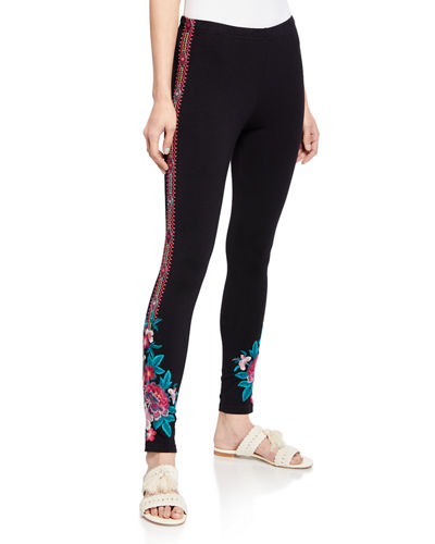 Annaliesse Floral-Embroidered Leggings