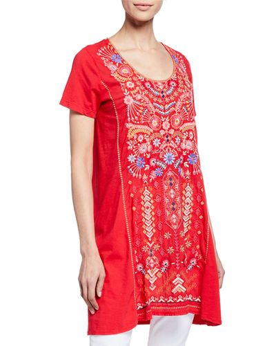 Plus Size Frederique Embroidered Short-Sleeve Panel Knit Mix Tunic