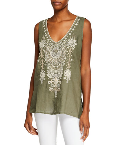 Marik V-Neck Linen Tank with Embroidery