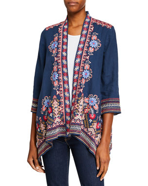 f99214994aacd Johnny Was Plus Size Frederique Draped Linen Cardigan