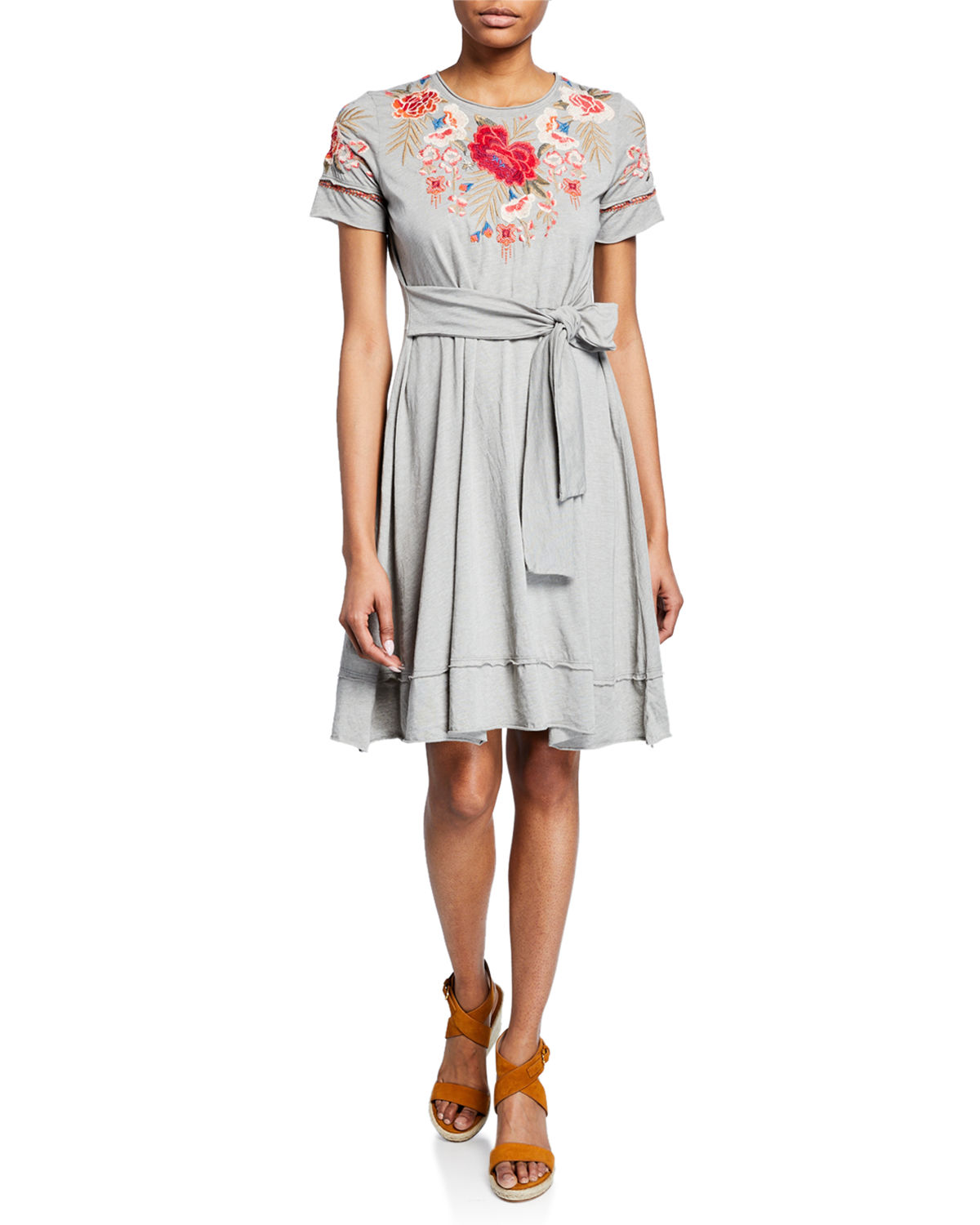 Johnny Was Plus Size Burke Embroidered Short Sleeve Tie Waist T
