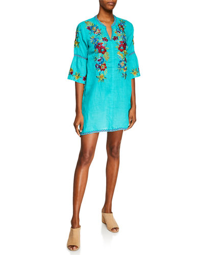 Nandi Flare-Sleeve Floral-Embroidered Linen Tunic Dress