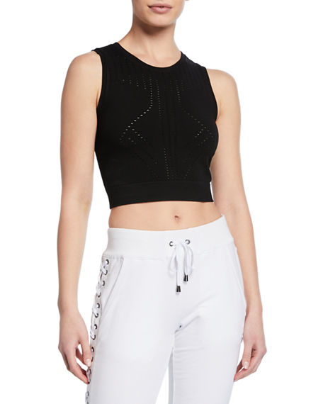 Blanc Noir Tops Infinity Crop Sleeveless Mesh Active Top