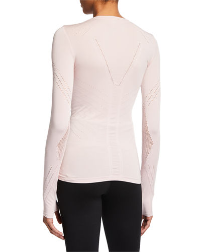 Blanc Noir Magnetic Long-Sleeve Mesh Top