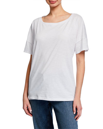 Bateau-Neck Short-Sleeve Slub Cotton Jersey Tee