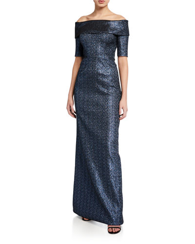 Off-the-Shoulder Short-Sleeve Metallic Jacquard Column Gown