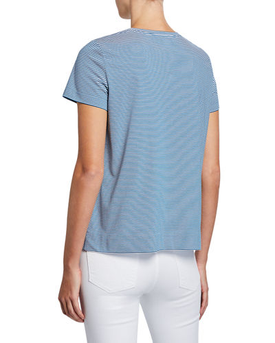 Lafayette 148 New York Modern Striped Short-Sleeve Jersey Cotton Tee