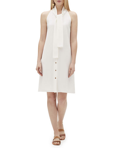 Amore Finesse Crepe Tie-Neck Dress