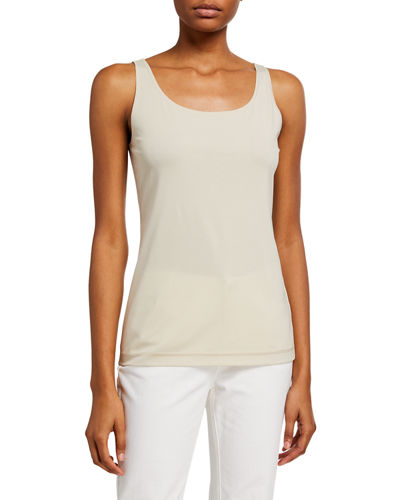 Modern Scoop-Neck Ribbed Cotton Tank
