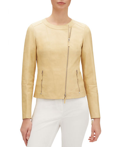 Trista Zip-Front Glazed Weightless Lambskin Leather Jacket