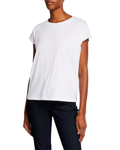 Organic Cotton Crewneck Short-Sleeve Boxy Tee, Plus Size