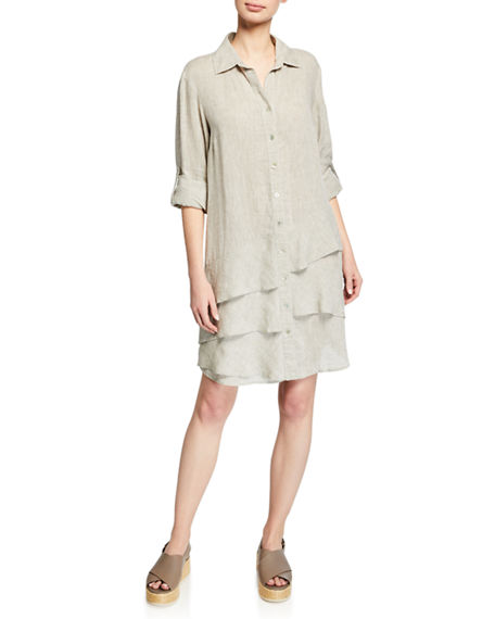 Finley Dresses PETITE JENNA WASHED LINEN SHIRTDRESS WITH TIERED RUFFLES