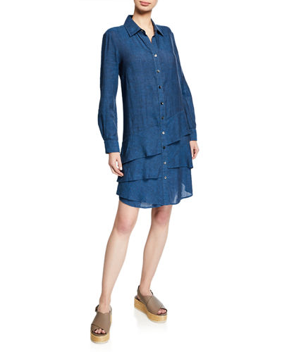 Plus Size Jenna Washed Linen Shirtdress with Tiered Ruffles