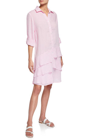 Finley Plus Size Jenna Washed Linen Shirtdress with Tiered Ruffles