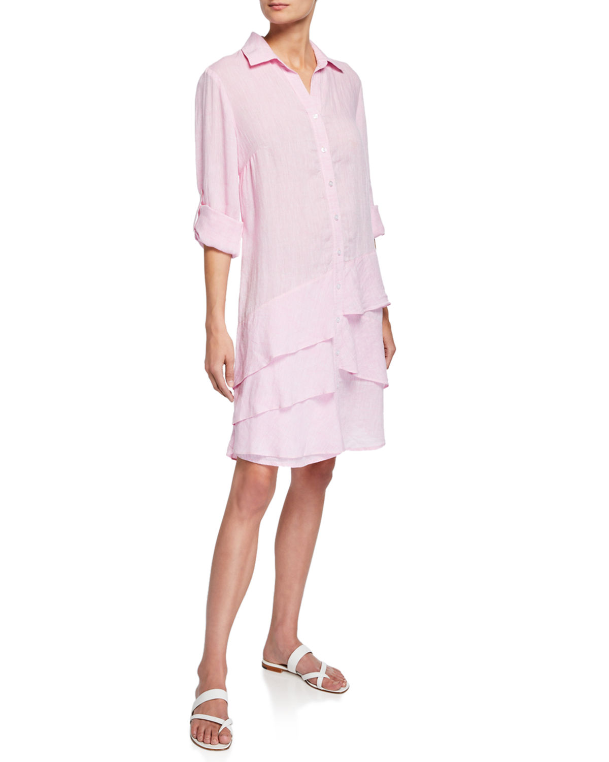 Finley Dresses PLUS SIZE JENNA WASHED LINEN SHIRTDRESS WITH TIERED RUFFLES