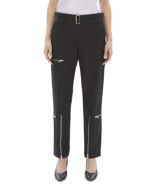 499fe552821 Helmut Lang Flight Straight-Leg Belted Pants with Zippers