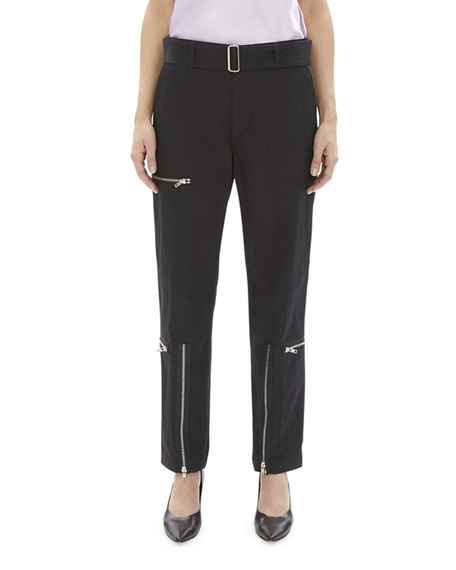 Helmut Lang Pants FLIGHT STRAIGHT-LEG BELTED PANTS WITH ZIPPERS