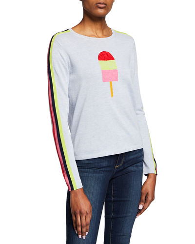 Plus Size Pop Top Cotton Sweater w/ Stripes and Popsicle