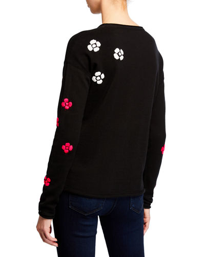 Lisa Todd Plus Size Daisy Crazy Embroidered Long-Sleeve Cotton Sweater