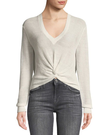 Veronica Beard Jeans Soren Twist-Front V-Neck Long-Sleeve Rib Sweater