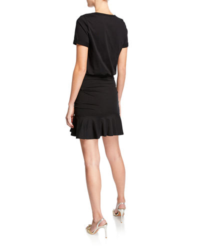 Veronica Beard Short-Sleeve Ruched Pima Cotton Mini Dress w/ Flounce Hem