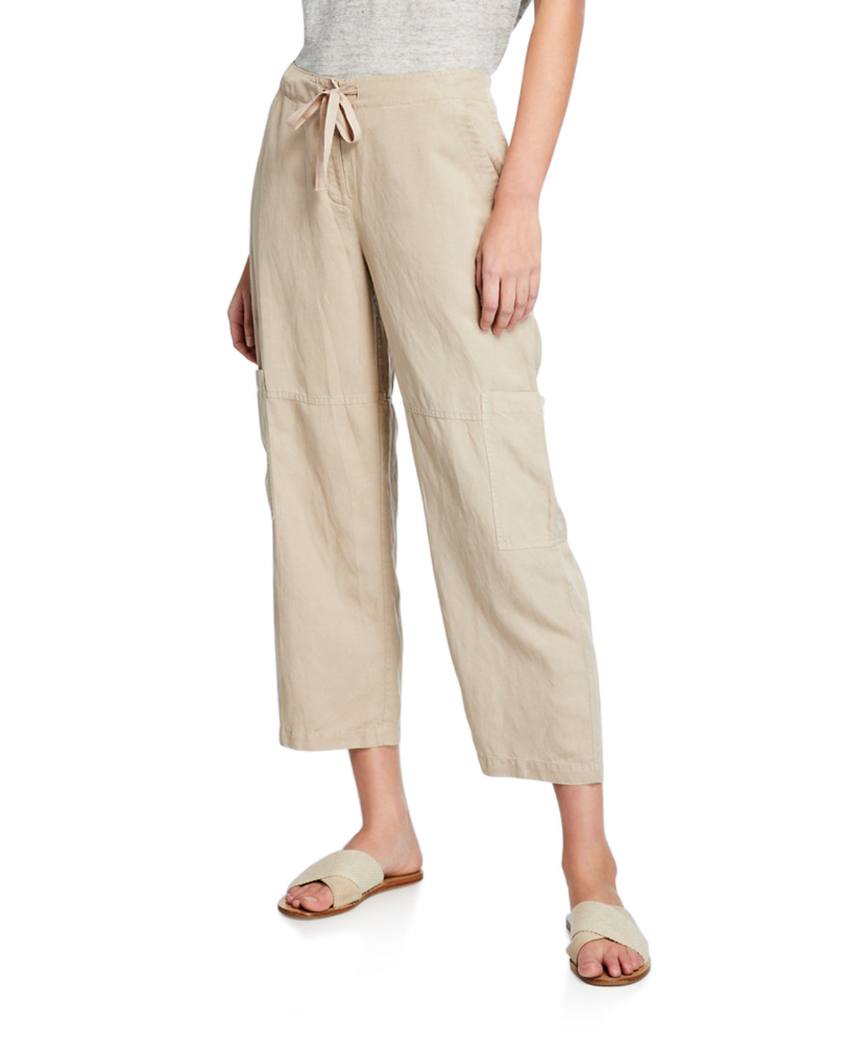 Eileen Fisher Drawstring Cropped Linen Cargo Pants