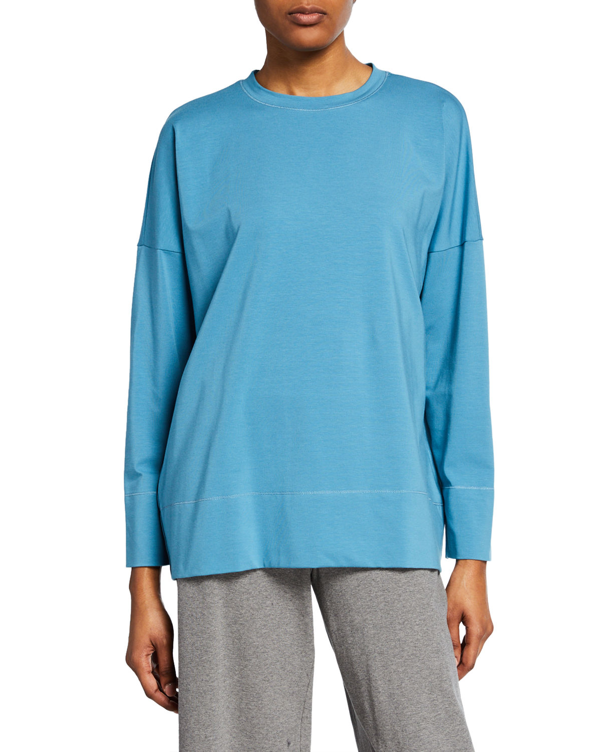 Eileen Fisher Tops PLUS SIZE COTTON JERSEY CREWNECK LONG-SLEEVE TOP