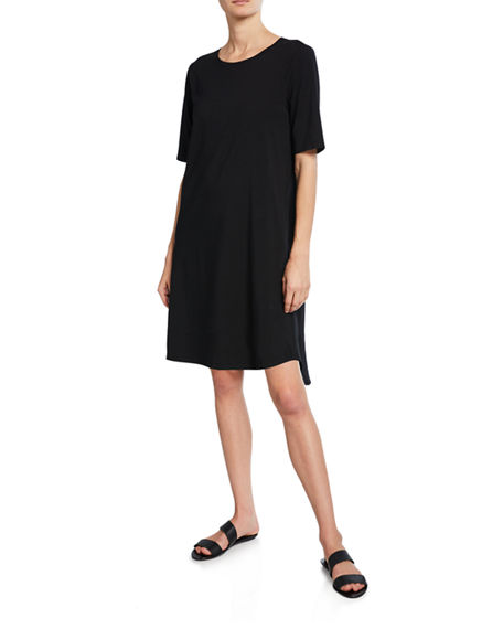 Eileen Fisher Dresses PETITE ELBOW-SLEEVE SHIRTTAIL-HEM JERSEY DRESS