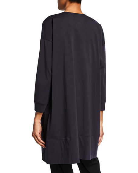 Image 3 of 3: Eileen Fisher Open-Front Bracelet-Sleeve Jersey Cotton Jacket
