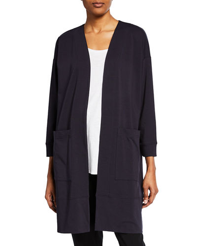 Open-Front Bracelet-Sleeve Jersey Cotton Jacket