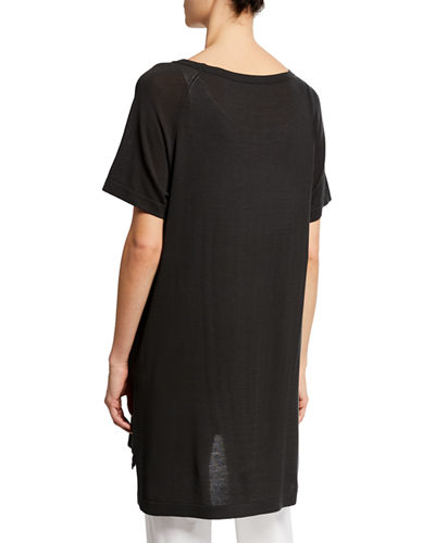 Eileen Fisher Petite Scoop-Neck Short-Sleeve Tunic