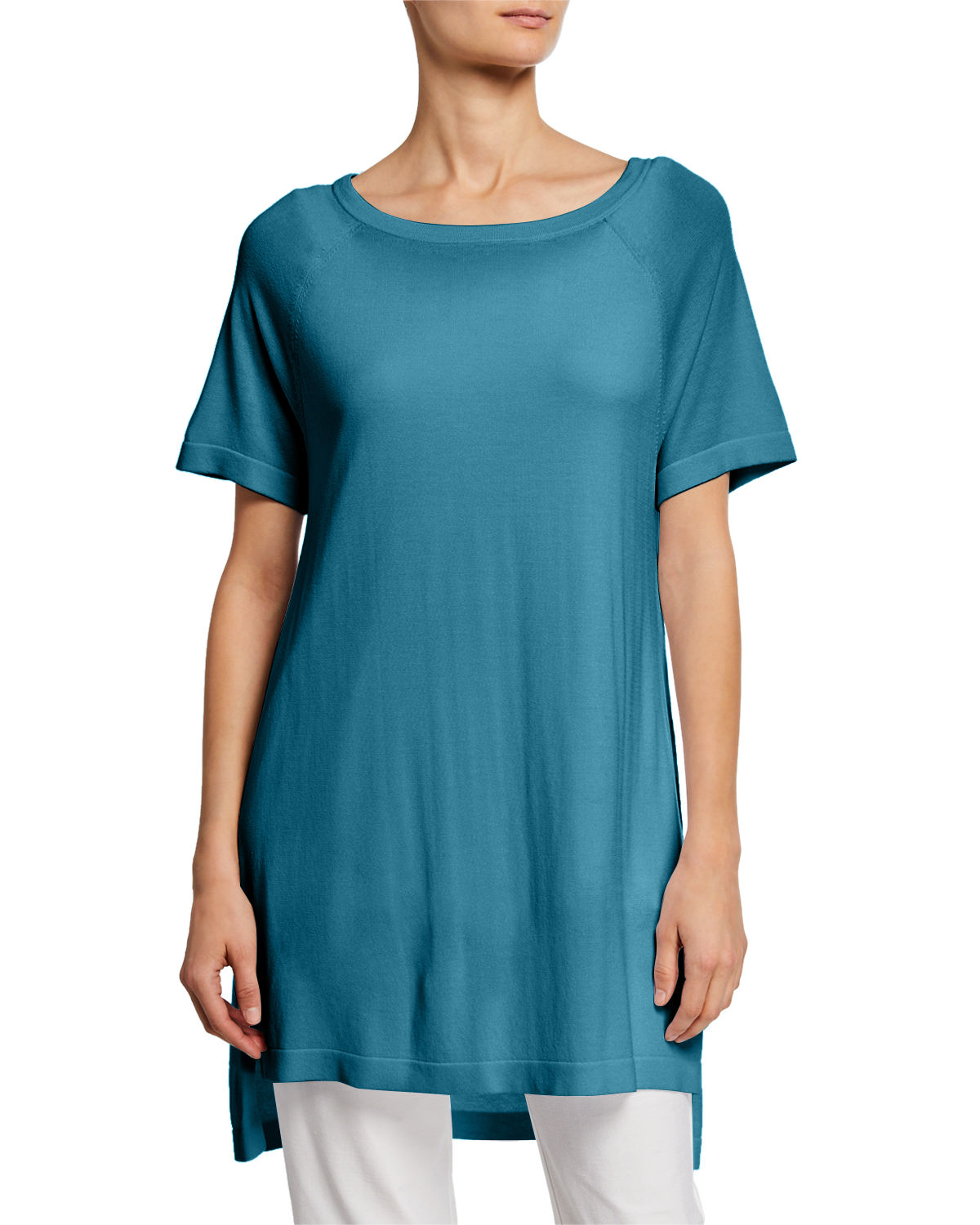 Eileen Fisher Shorts PLUS SIZE SCOOP-NECK SHORT-SLEEVE TUNIC