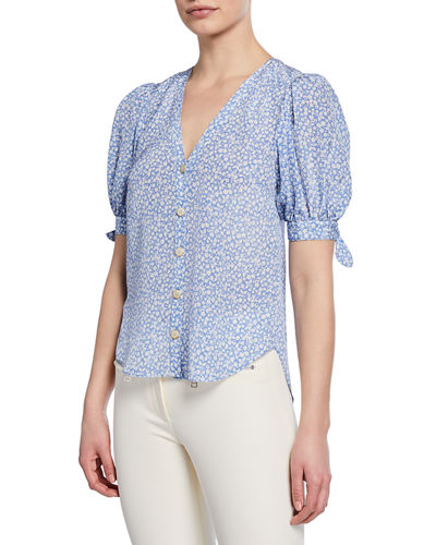 Gizela Floral-Print Button-Front Puff-Sleeve Silk Blouse