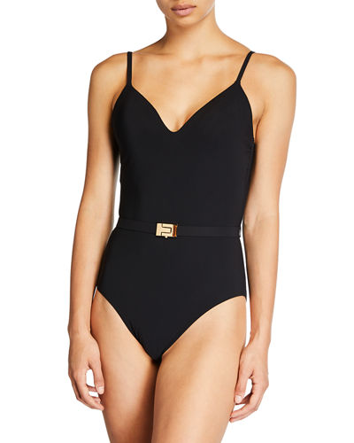 Belted V-Neck One-Piece Swimsuit