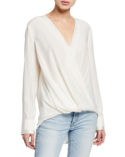 Victor Draped Surplice Long-Sleeve Blouse