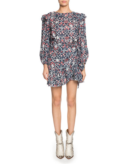 Etoile Isabel Marant Dresses Telicia Printed Linen Ruffle Belted Dress