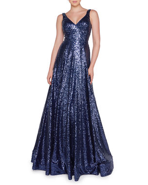 Ieena for Mac Duggal Sequined V-Neck Sleeveless Ball Gown d1c0f38af103