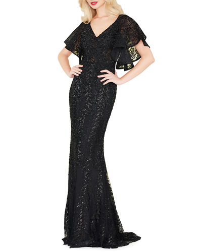 Sequined Lace V-Neck Angel-Sleeve Gown