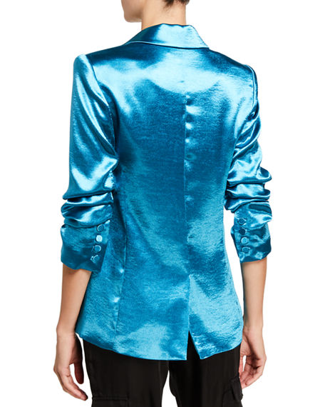 Image 2 of 3: cinq a sept Kylie Ruched-Sleeve Satin Blazer