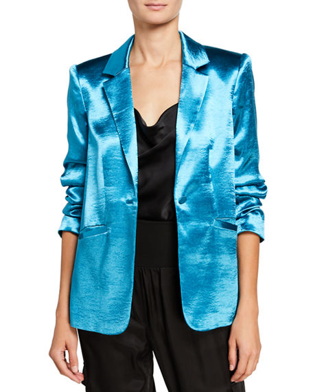 Image 3 of 3: cinq a sept Kylie Ruched-Sleeve Satin Blazer