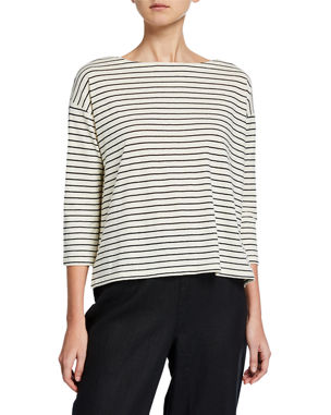 7532fc5dea8 Eileen Fisher Groove Stripe Bateau-Neck 3 4-Sleeve Top