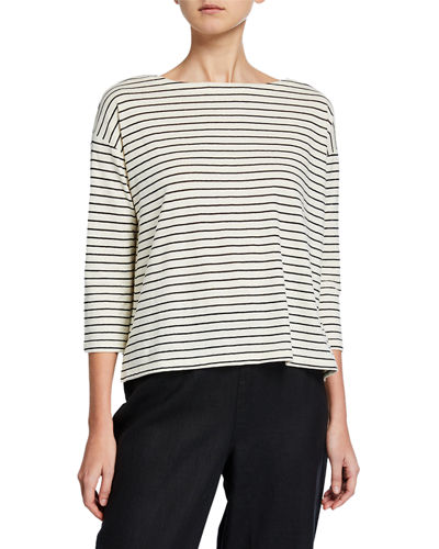 Groove Stripe Bateau-Neck 3/4-Sleeve Top