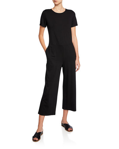 Petite Short-Sleeve Straight-Leg Cropped Jersey Jumpsuit