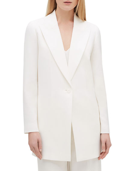 Lafayette 148 Jackets PLUS SIZE KOURT PEAK-LAPEL ONE-BUTTON FINESSE CREPE JACKET