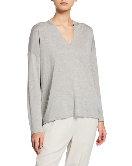 Eileen Fisher Sweaters PETITE SILK/CASHMERE V-NECK SWEATER