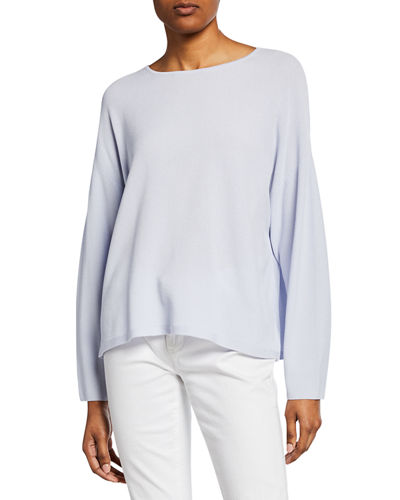 Petite Jewel-Neck Long-Sleeve Top